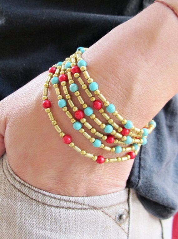 Three in One Style Turquoise Coral with Brass Bead Bracelet or Anklet or Necklace