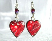 Circuit Board Earrings -- Domed Red Hearts -- Tech Valentine's Day Gift
