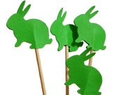 24 Easter Green Bunny Party Picks, Cupcake Toppers, Toothpicks, Food Picks - No963 - BelowBlink