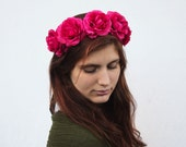Pink Rose Crown - Raspberry Pink Flower Crown, Frida Kahlo, Rose Headband. Bohemian Fashion, Summer Fashion - BloomDesignStudio