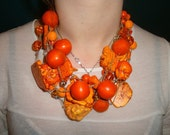"Freeform  Necklace  - Agate ""Purple Rain""  or Orange Turquoise  ""Orange juice""(SPECIAL ORDER) - creativedesignsstore"
