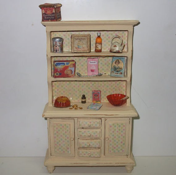 Dollhouse Miniature  Kitchen Hutch, scale 1/12