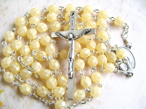 Butter Yellow Rosary - First Holy Communion - Girls, Women - Free Domestic Shipping