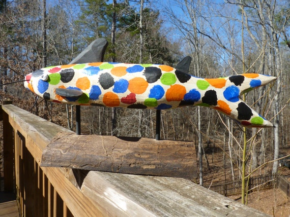 Folk Art Fish by Art Vineyard on Etsy