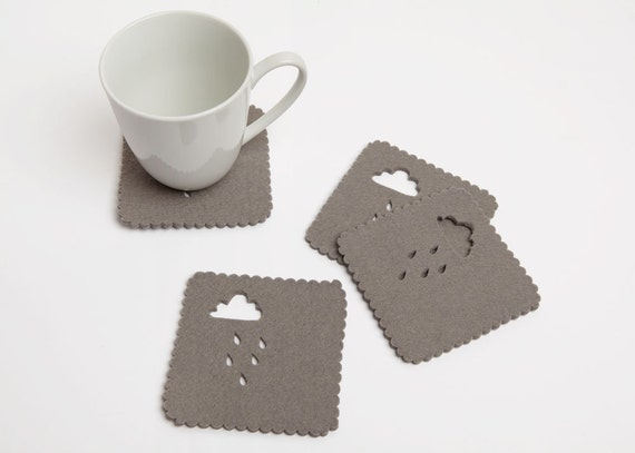 Rainy Day Felt Coaster set of 4 - 3mm wool felt scalloped edge