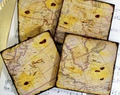 Map Coasters Old World Map (Dark Version) Gold Stained and Antiqued Map Set of 4 Teachers Historians Map Lovers Etsy Men