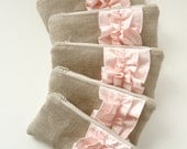 Set of 5 - Blush Pink Linen Burlap Ruffle Zipper Clutch - Bridesmaid Gift - Blush Wedding