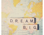 dream big map color photo print - whimsical fine art still life photography, retro, inspirational, nursery wall art - 16x16
