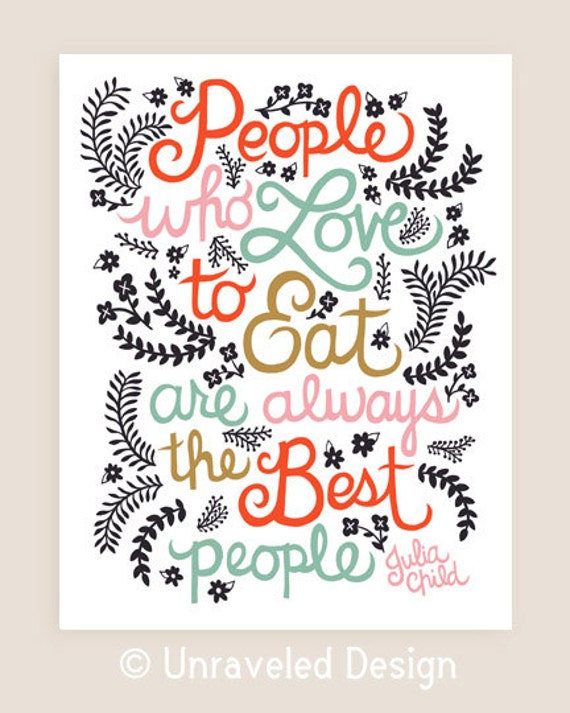 11x14-in Julia Child Quote Illustration.