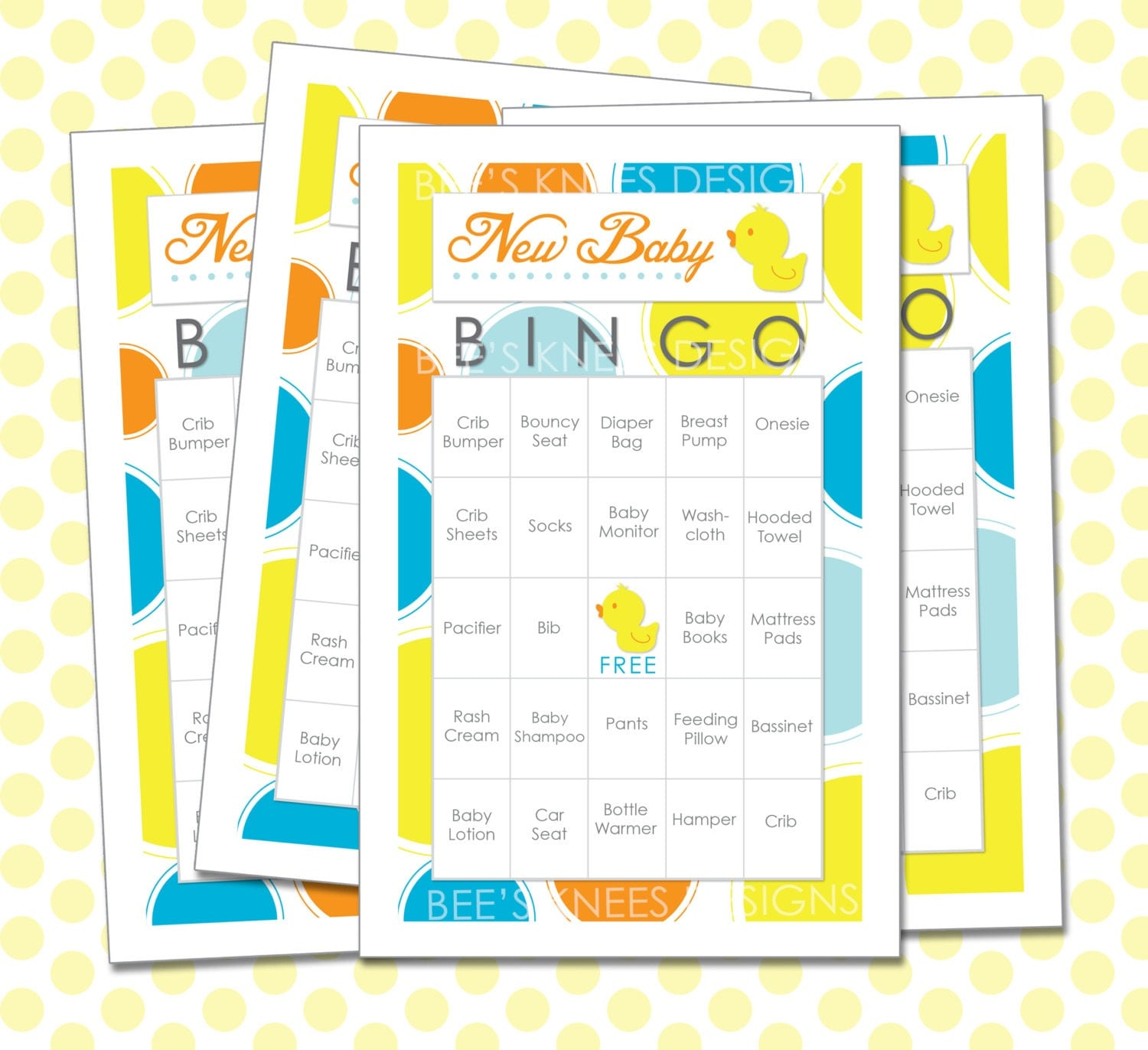 Baby shower bingo cards game rubber duck rubber ducky instant