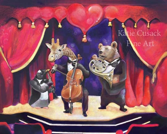 Animal Orchestra Print Illustration 10x8 Fantasy Art