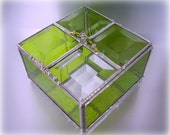 Stained Glass Box  - Jewelry Trinket Box - Lime Green with Beveled Top - 4 x 4 x 2 - WelcomeJewelry