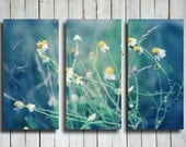 Soft Dreams - Flowers collage - Blue and Green collage - Flowers canvas - Blue and Green canvas - Blue and green decor - Flowers decor - EmeraldTownRaven
