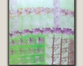 "Original Painting, Grey, Green, Purple colors, Abstract, Acrylic on Canvas, size 30"" x 30"" x 3/4"", Modern Art."