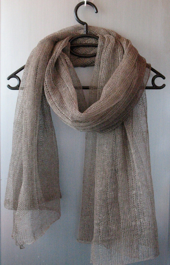 Linen Natural Grey Scarf Shawl Wrap Stole , Light, Transparent