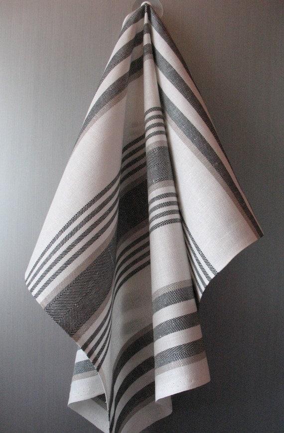Linen Cotton Dish Towels striped - Tea Towels set of 2
