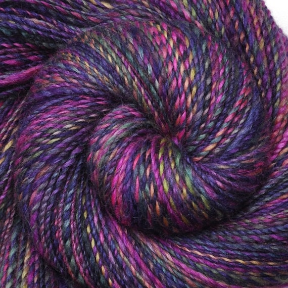 Handspun yarn - Mothers Day Lilacs - Handpainted Silk / Blue Faced Leicester (BFL) wool, DK weight, 325 yards