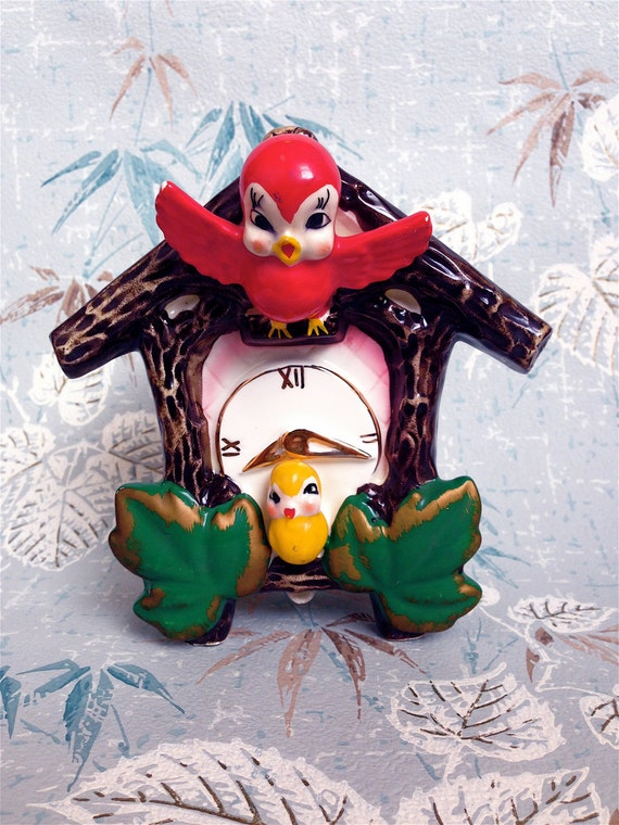 Super Kitschy Cute Cuckoo Clock Birdie Wall Pocket Planter Flower Pot