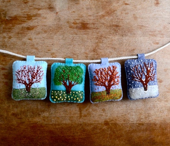 The Four Seasons. Embroidered Seasons Garland by Aly Parrott on Etsy. Made to order.