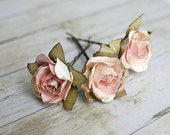White and Pink Flower Hair Pins. Paper Flowers, Bridesmaids. Bridal, Whimsical, Summer, Spring, Weddings. Bridal,Hair Accessories - rosesandlemons