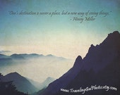 Inspirational art print quotes travel photography Yellow Mountain China blue white grey home decor gift 8x10 fine art photo - TravelingGalPhotos