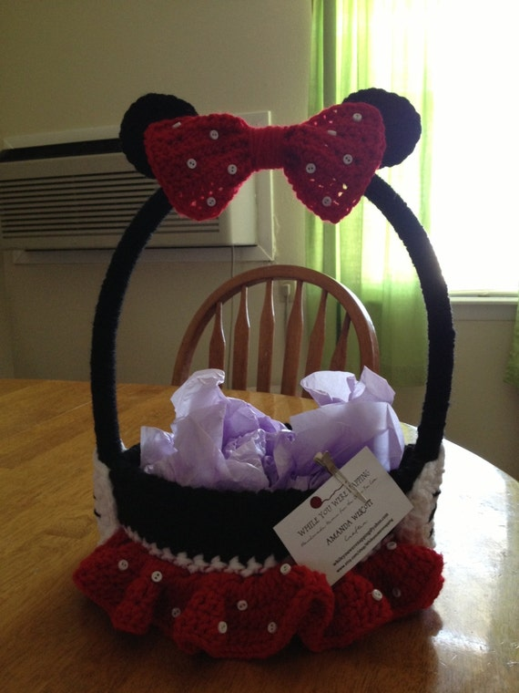 Minnie Mouse Inspired Easter Basket Red - Ready to Ship