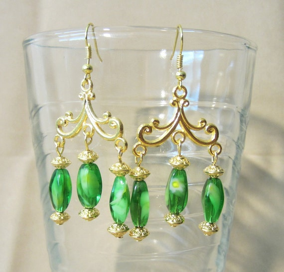 Gold Flourish & Peridot Aqua Glass Chandelier Earrings