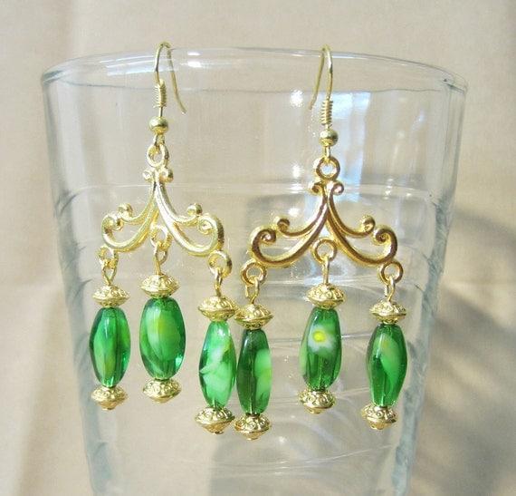 Gold Flourish & Peridot Aqua Glass Chandelier Earrings