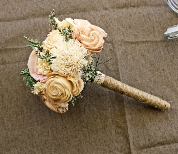 Romantic Wedding Bouquet -Mini Alternative Natural Bridesmaid Toss Bouquet, Keepsake Wood Bouquet, Shabby Chic Rustic Wedding
