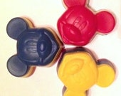 Mickey Crayons, Recycled Mickey Mouse Crayon Birthday Party Favors, Set of 3