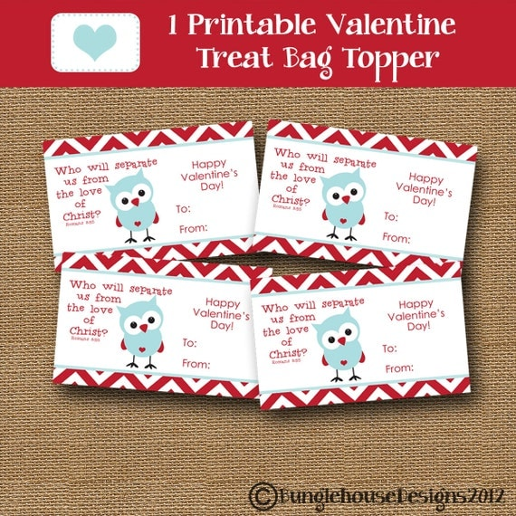 Valentine Treat Bag Topper for Kids Owl Valentine DIY PRINTABLE Christian Scripture Bible Verse Valentine for Boys Children
