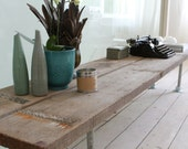 Reclaimed Scaffolding Boards and Galvanised Steel Pipe Long Low TV Bench or Console Table - inspiritdeco