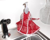 Vintage style kitchen soap bottle apron in red and white