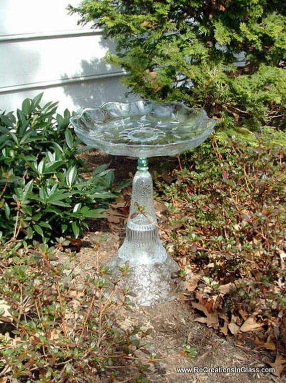 "Garden art.  Bird bath.  Bird feeder.   ""The April"" is made with repurposed upcycled glass"