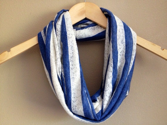 Dusty Blue and Lace Striped Infinity Scarf, jersey knit
