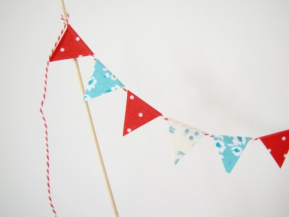 Fabric Cake Bunting Decoration - Cake Topper - Wedding, Birthday Party, Shower Decor Cherry and Aqua red turquoise blue floral dots