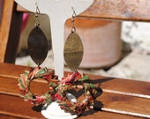 Paper earrings with wood element - Eco friendly - Multicolor
