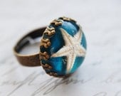 Real Starfish Ring Turquoise Blue Nautical  Mermaid Resin Jewelry Beach Sea Seaside Summer Contemporary Statement OOAK - NaturalPrettyThings