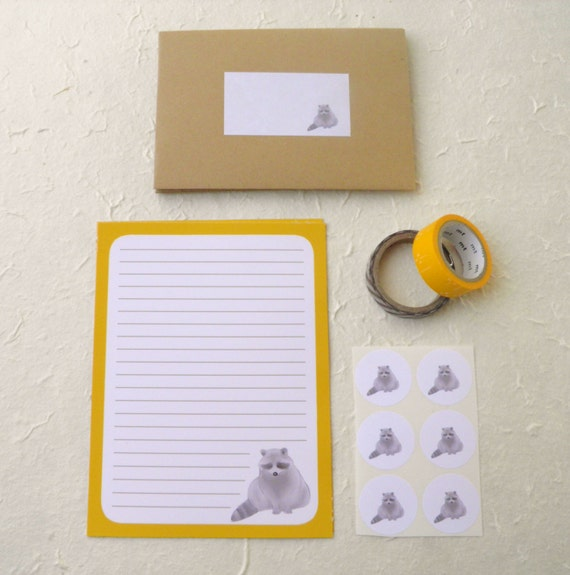 Stationery set - Wasbeer - 8 vellen papier en 4 enveloppen - postpapier - 6 stickers