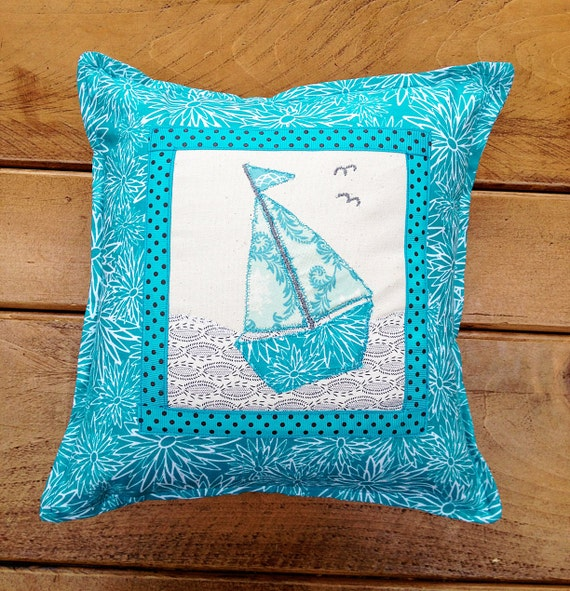 Small Handmade Square Blue Turquoise Applique Sailing Boat Sea Bird Cushion Pillow