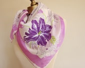 Silk scarf / spring / Iris / 1940s 50s / hand rolled / delicate / feminine