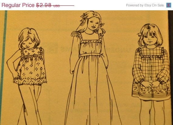 SALE Children's and Girl's Dress or Top Size 3 Vintage 1970s Sewing Pattern-McCall's 5879
