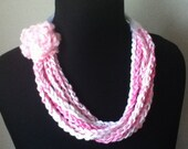 Free Shipping: Pink and White Crocheted Rose Ribbon Necklace