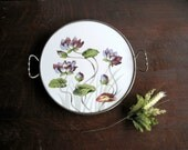 Vintage Round Floral Tray with Handles - RushCreekVintage