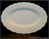 Vintage 1936 Edwin Knowles China large oval Fashion Pattern embossed serving platter with scalloped edges made in USA