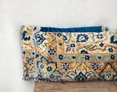 carpet pillows, 12 x 18, SET OF TWO,  rug lumbar pillow, blue cream taupe yellow, Uzbek ethnic, velour pillows, Anatolian style - MulberryWhisper