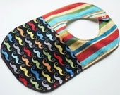 Designer Boy Baby to Toddler Bib - Little Man Moustache / Mustache Stripes - One of a Kind - Ready to Ship