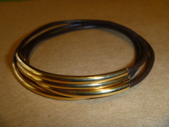 Dark Brown Leather Gold Tube Bangle Bracelet Set of 4