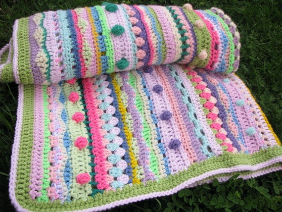 Afghan crochet baby blanket - bubbles, multicolor, colorful, bright  blanket - unique