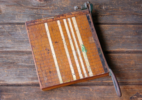 Vintage Tabletop Wooden Paper Cutter